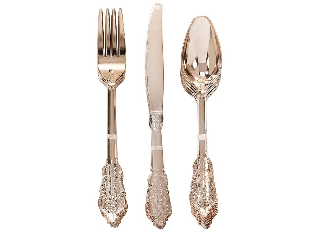 Party Porcelain Rose Gold Cutlery 18pk