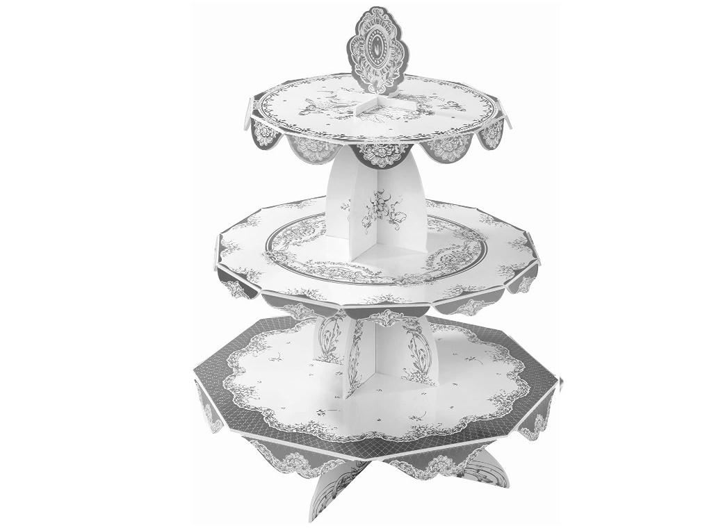 Party Porcelain Silver Cake Stand