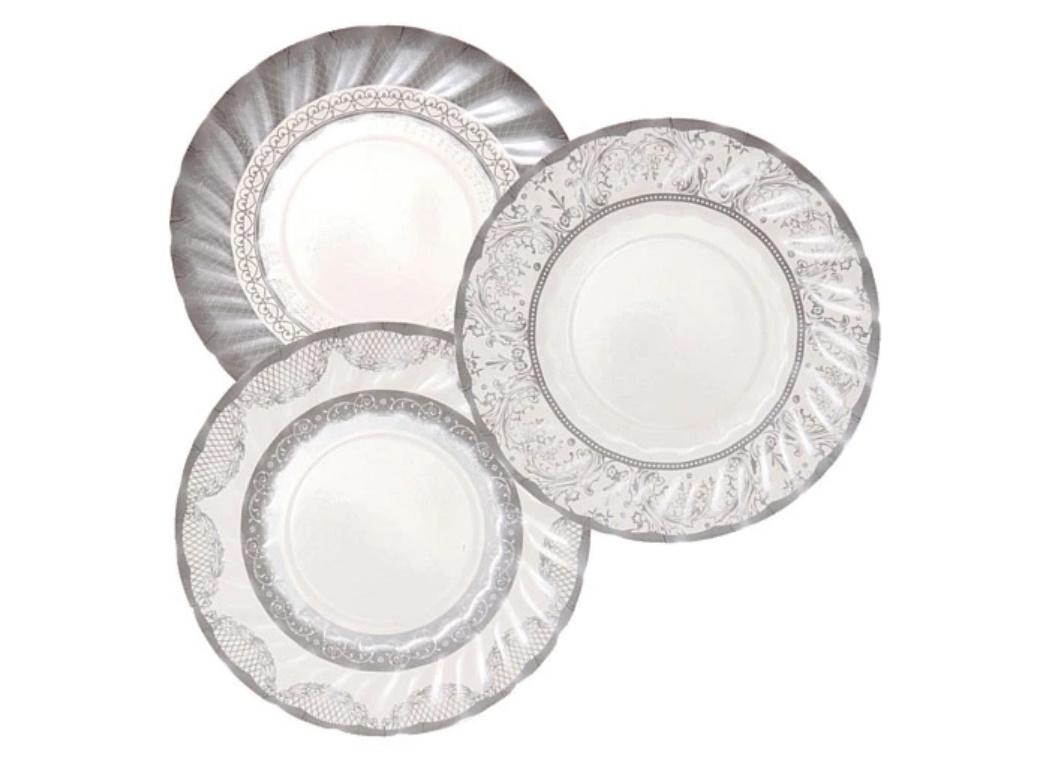 Party Porcelain Silver Small Plates 12pk