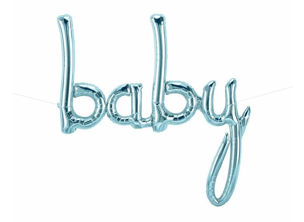 Pastel Blue 'Baby' Script Balloon