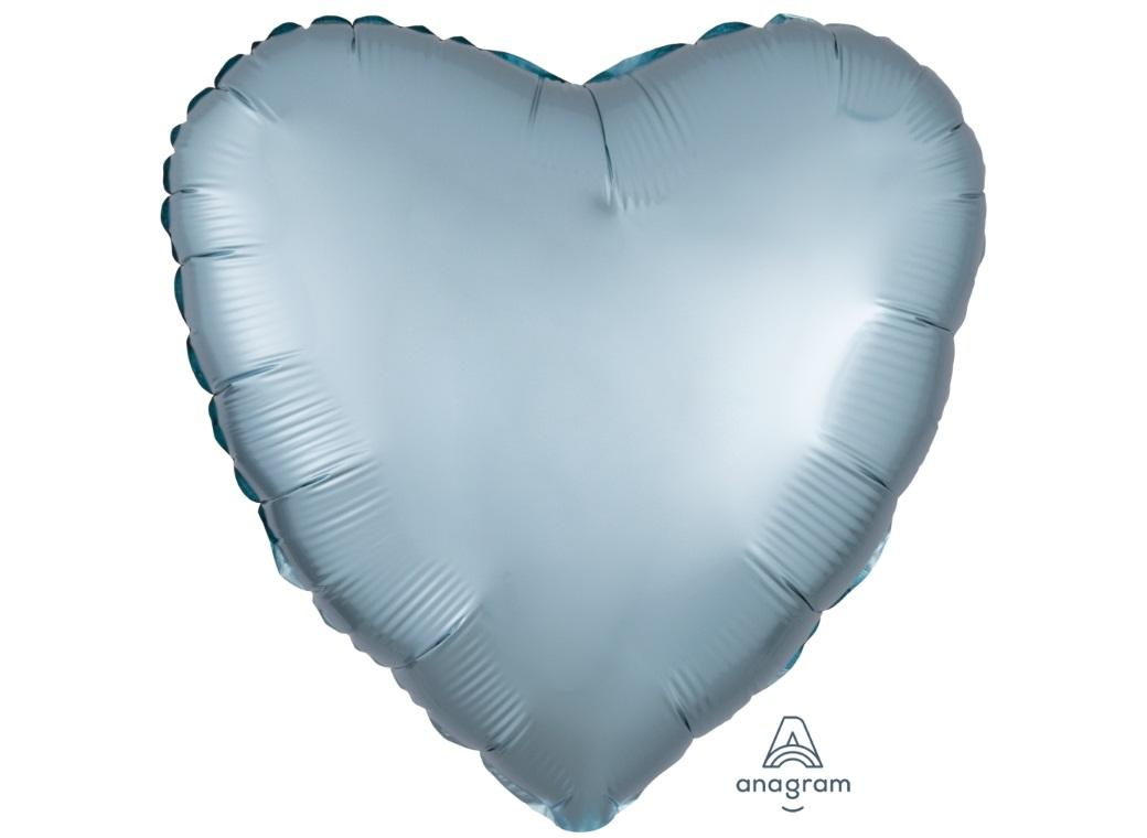 Heart Shaped Foil Balloon - Satin Luxe Pastel Blue