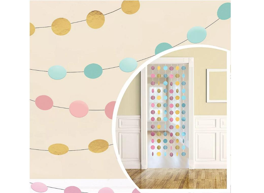 Pastel & Gold Circle String Decorations