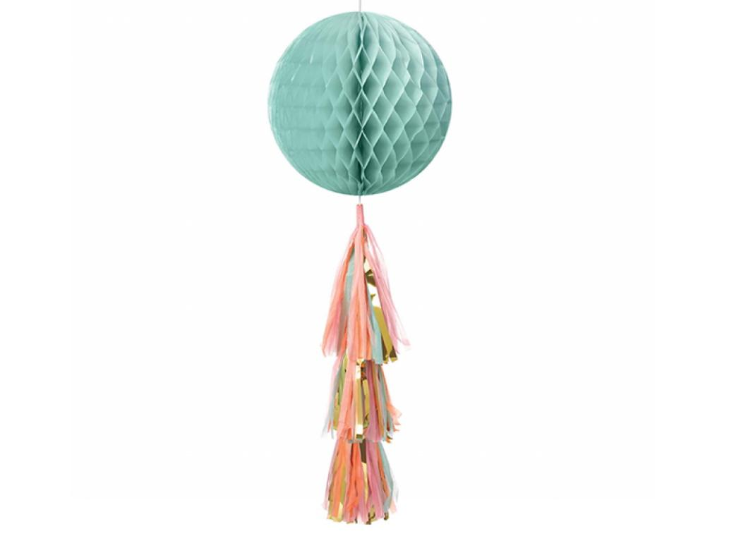Pastel & Gold Honeycomb Ball with Tassel Tail