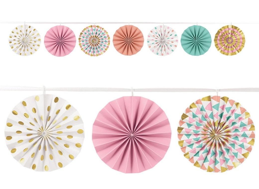 Pastel & Gold Mini Fans Garland