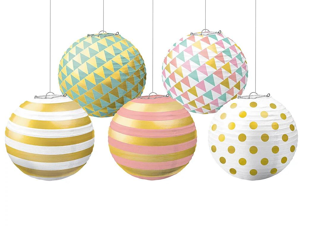 Pastel & Gold Mini Paper Lanterns 5pk