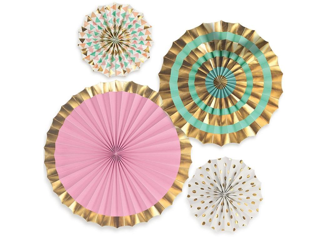 Pastel & Gold Paper Fans - Set of 4