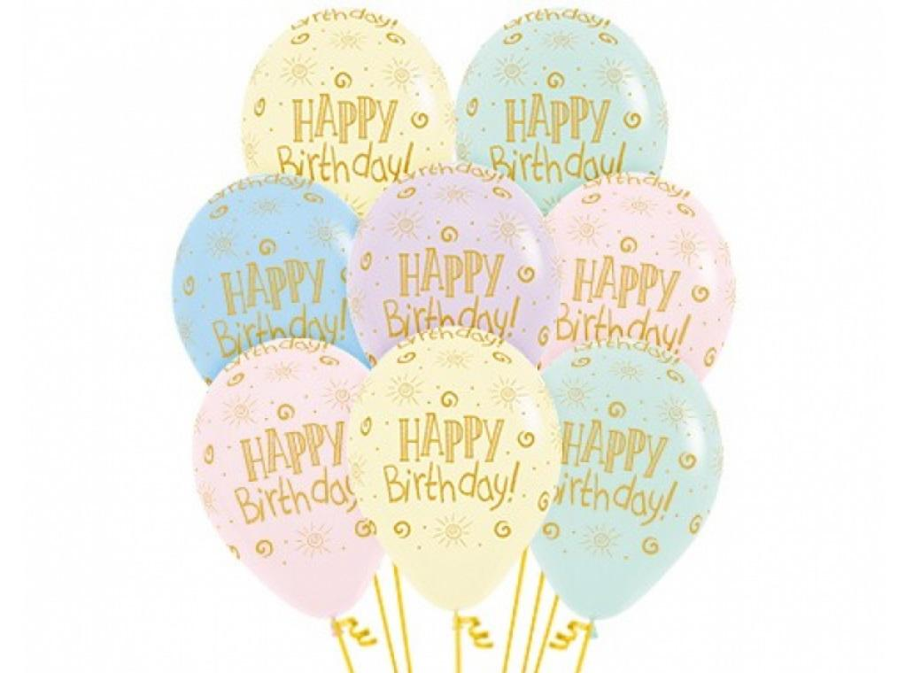 Pastel Matte Balloons Happy Birthday 12pk