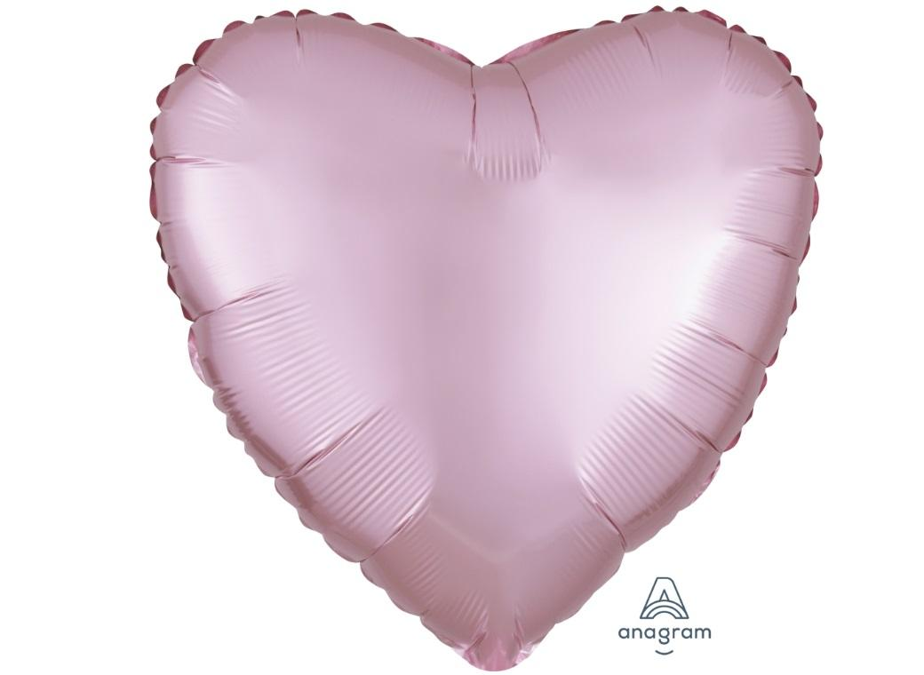 Heart Shaped Foil Balloon - Satin Luxe Pastel Pink