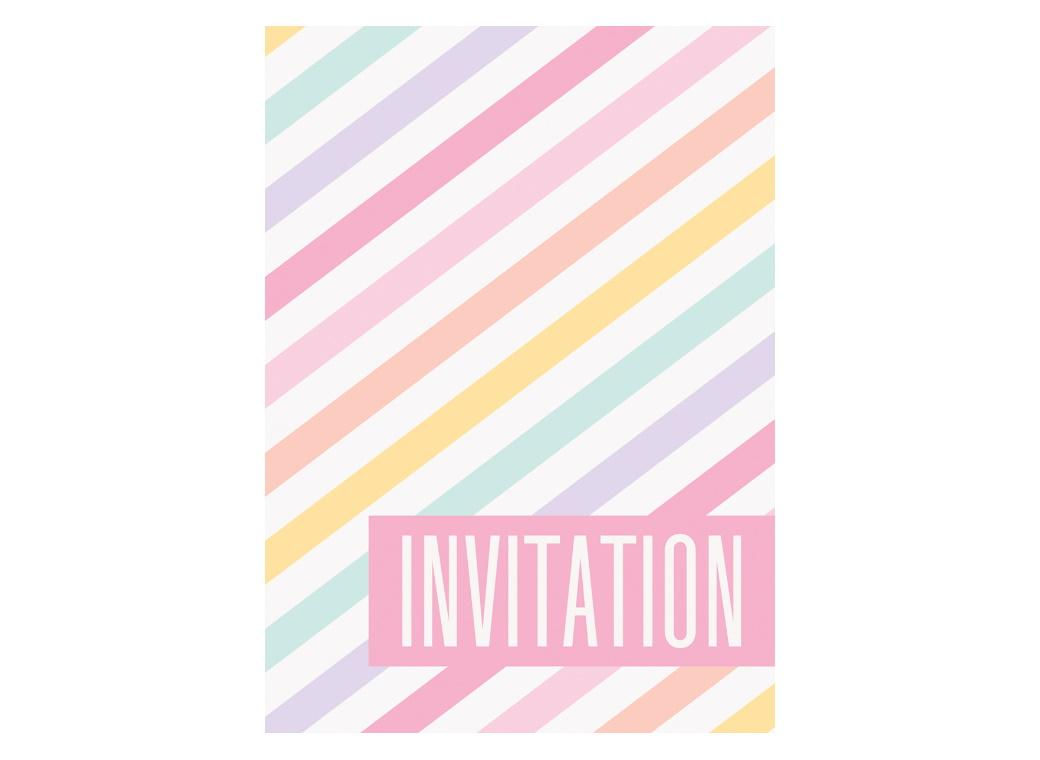 Pastel Stripes Invitations 8pk