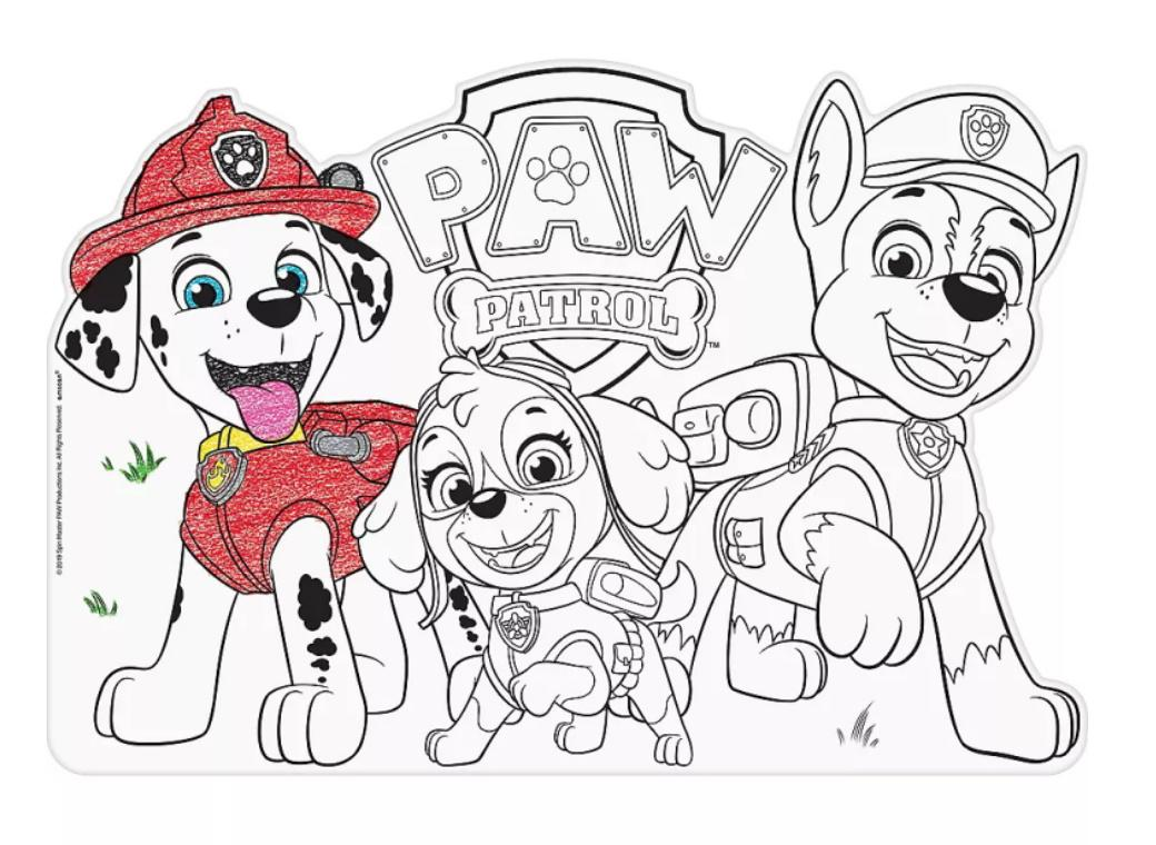 Paw Patrol Colour In Placemats 8pk