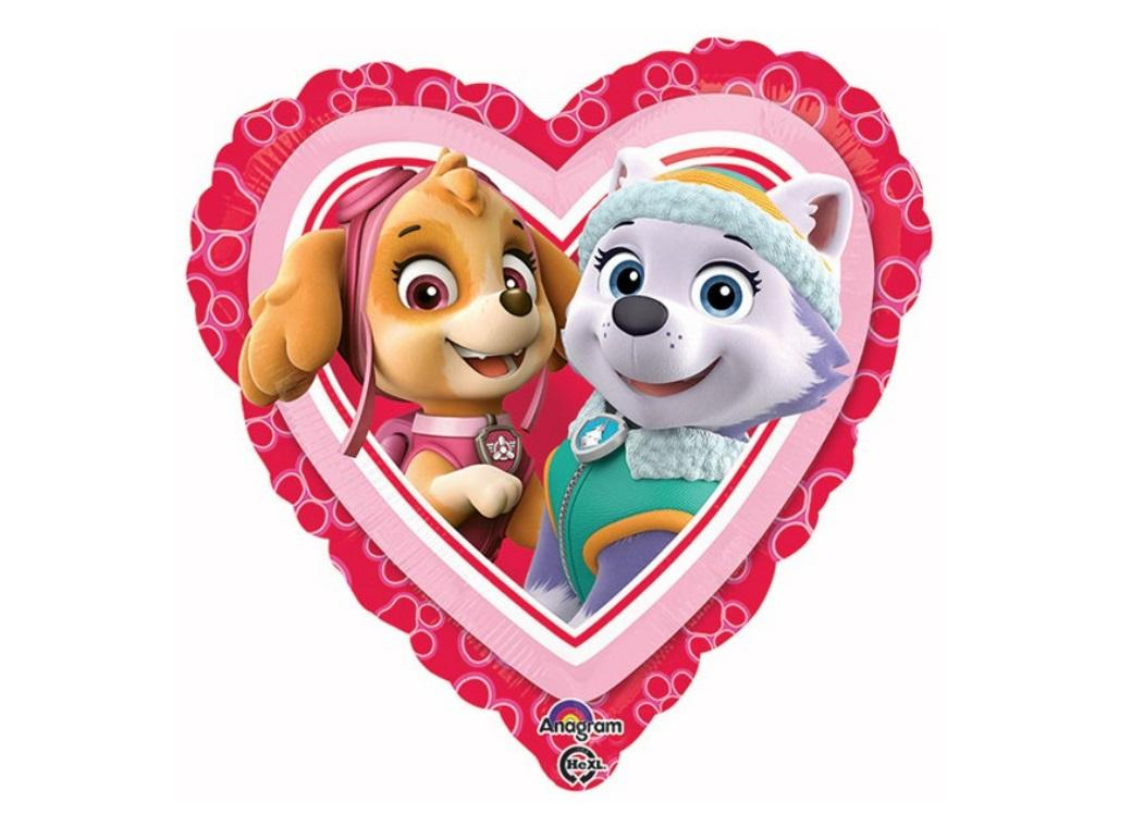 Pink Paw Patrol Love Heart Foil Balloon