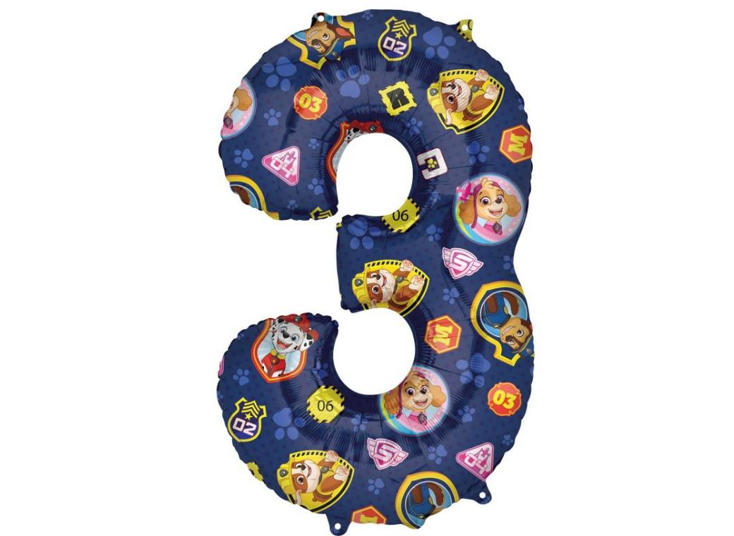 Paw Patrol Number 3 Foil Balloon
