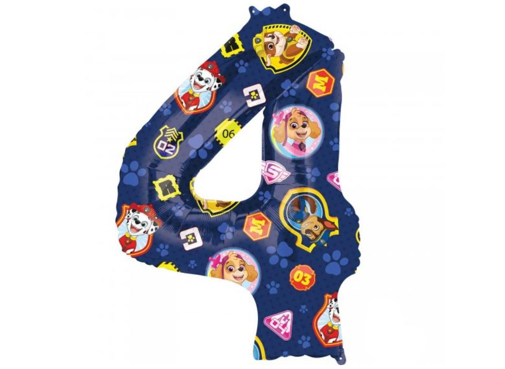 Paw Patrol Number 4 Foil Balloon