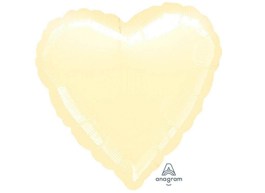 Heart Shaped Foil Balloon - Pearl Ivory