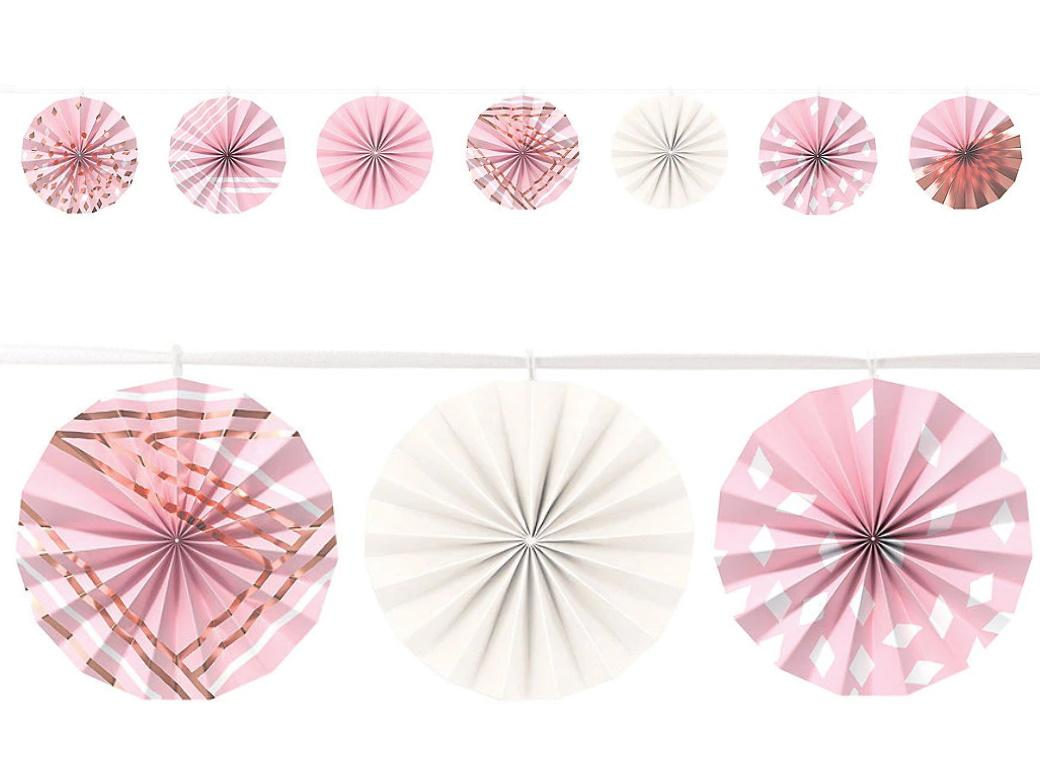Blush Pink & Rose Gold Mini Fans Garland