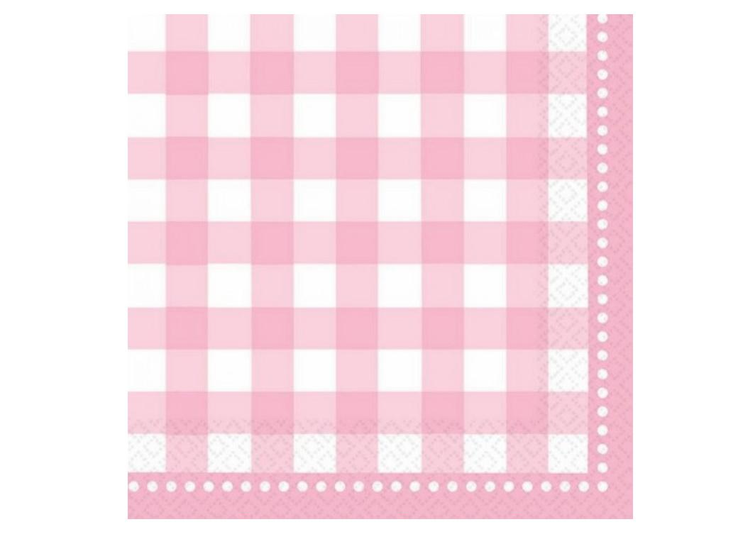 Pale Pink Gingham Lunch Napkins 16pk