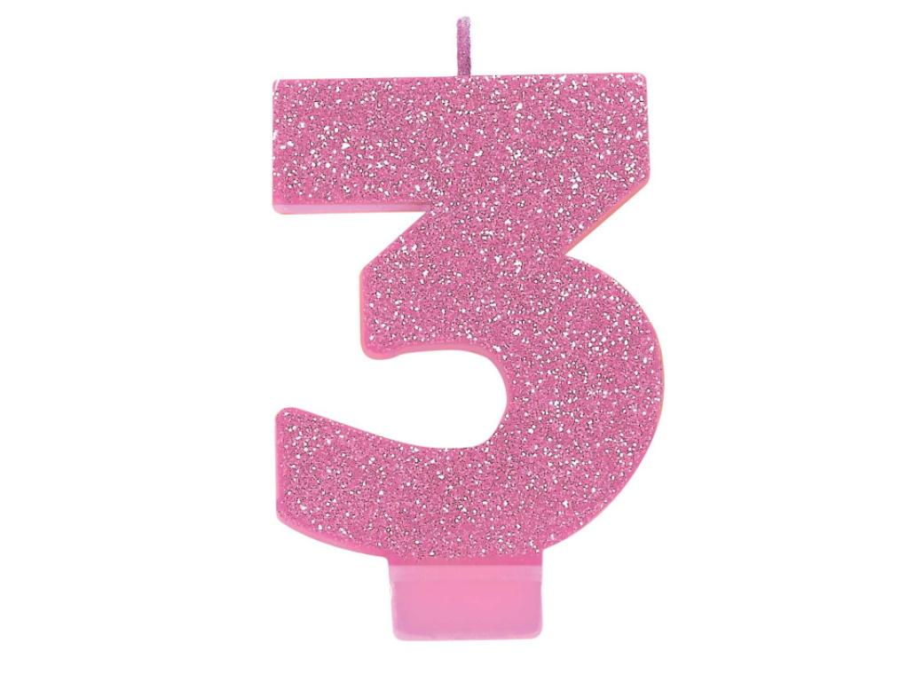 Pink Glitter Candle - Number 3