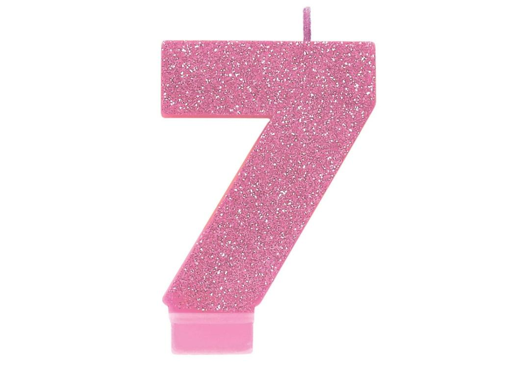 Pink Glitter Candle - Number 7