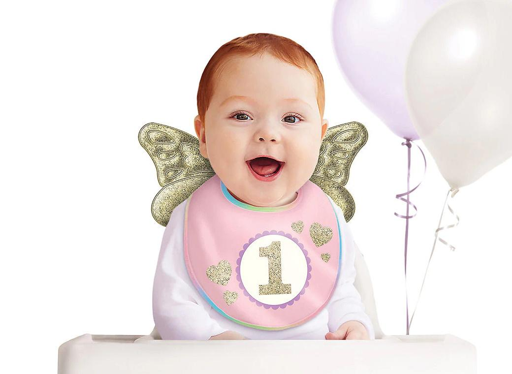 1st Birthday Pink & Gold Glitter Bib