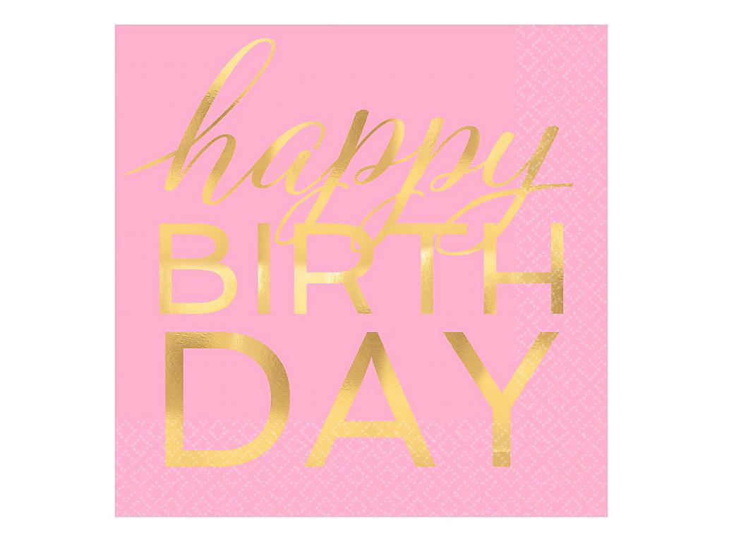 Pink & Gold Happy Birthday Lunch Napkins 16pk