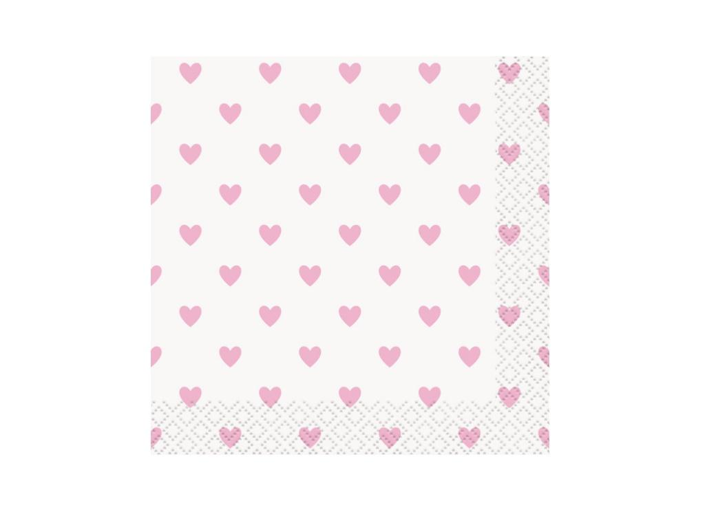 Pink Hearts Baby Shower Beverage Napkins 16pk