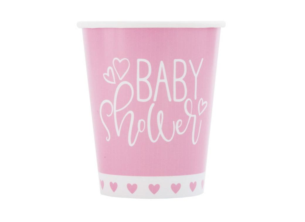Pink Hearts Baby Shower Cups 8pk