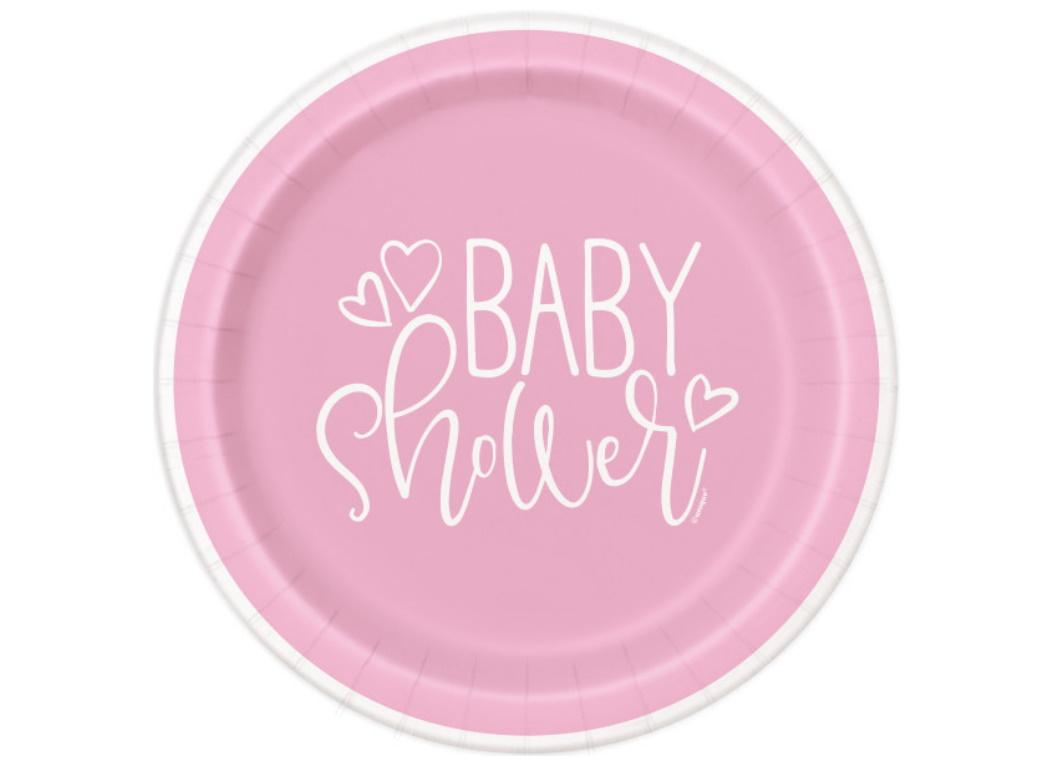 Pink Hearts Baby Shower Dinner Plates 8pk