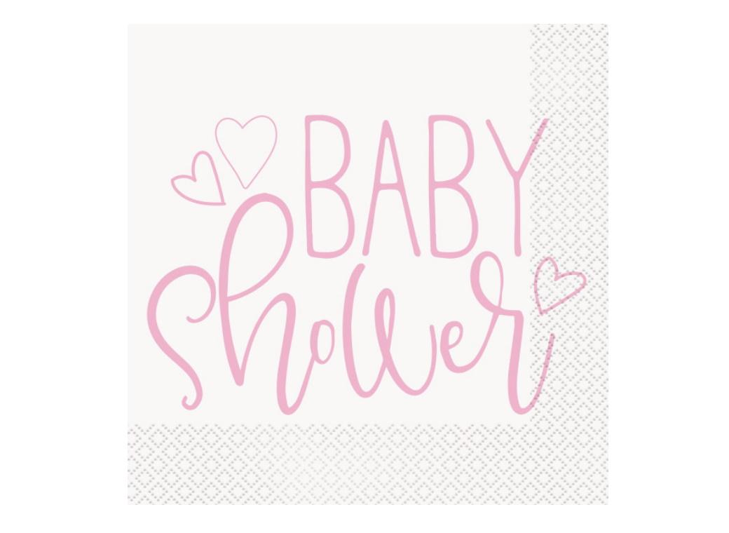Pink Hearts Baby Shower Lunch Napkins 16pk