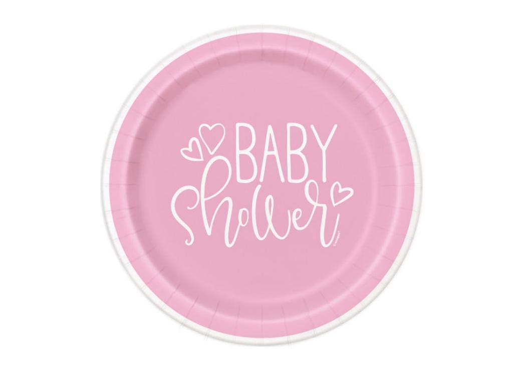 Pink Hearts Baby Shower Lunch Plates 8pk