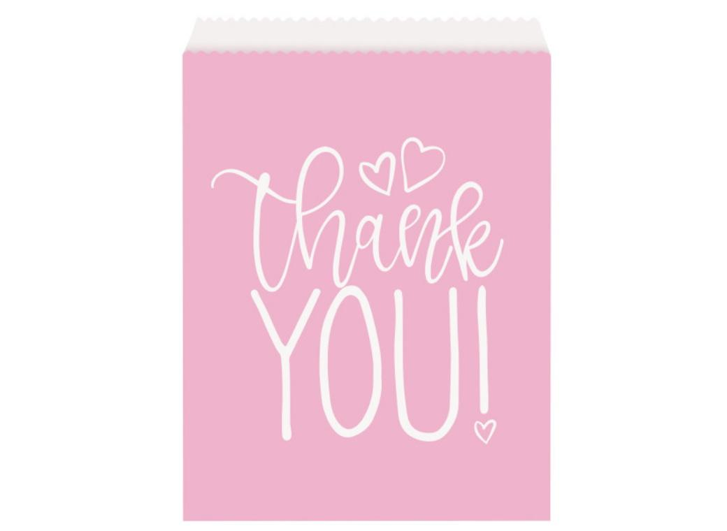 Pink Hearts Baby Shower Thank You Bags 8pk