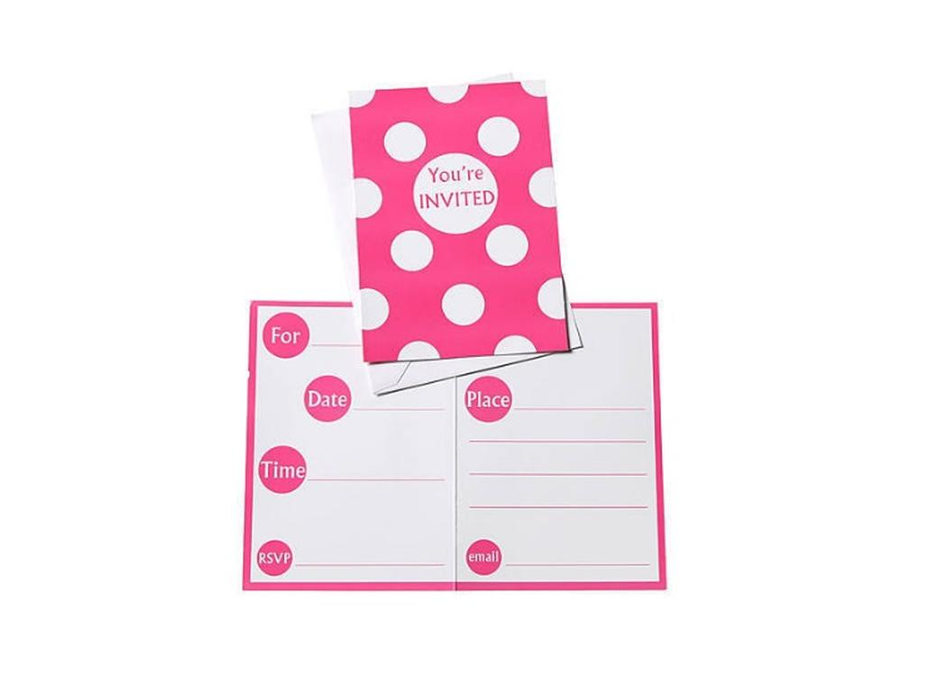 Pink Polka Dot Invitations - 8pk