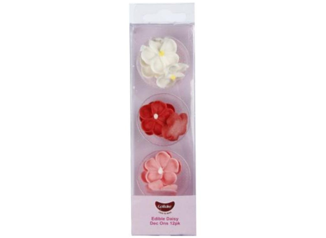 GoBake Dec Ons Pink, Red & White Daisies - 12pk