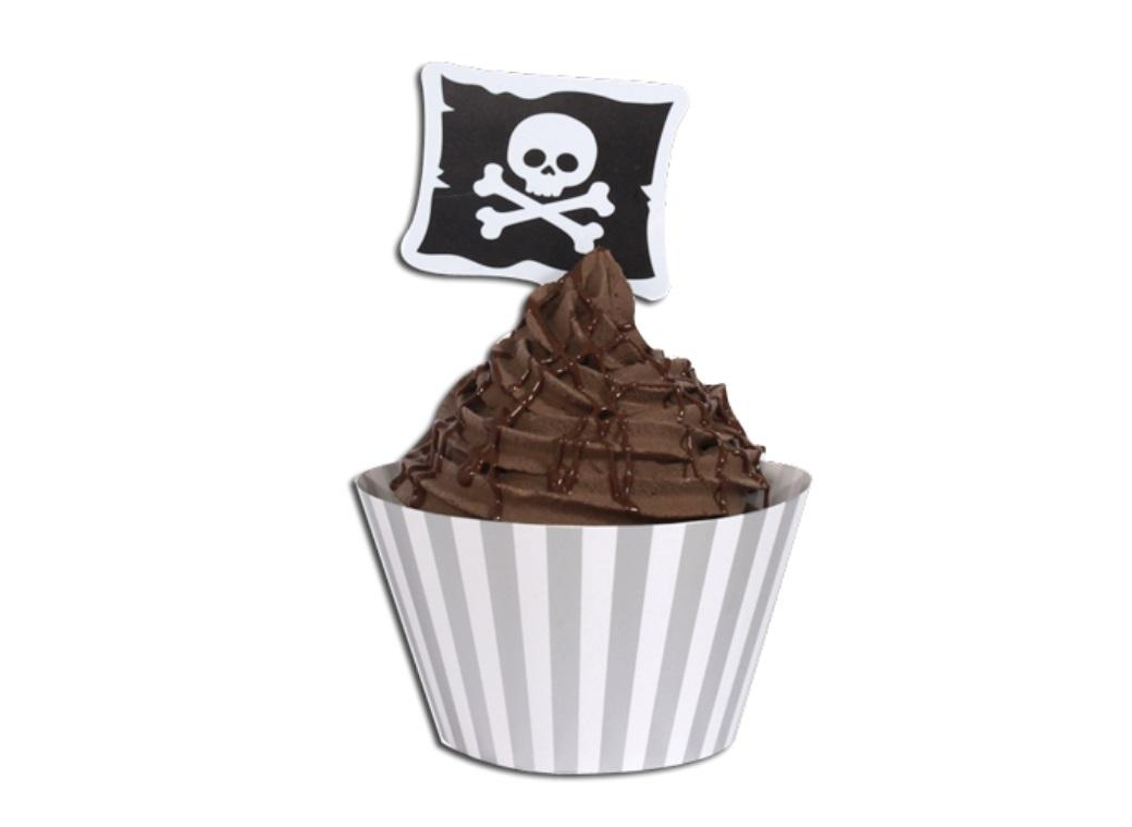 Cupcake Wrappers with Toppers - Pirates - 12pk