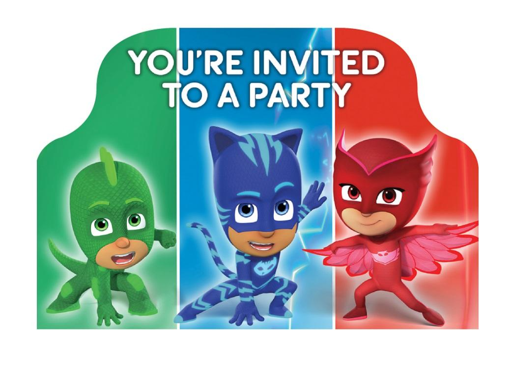 PJ Masks Invitations 8pk