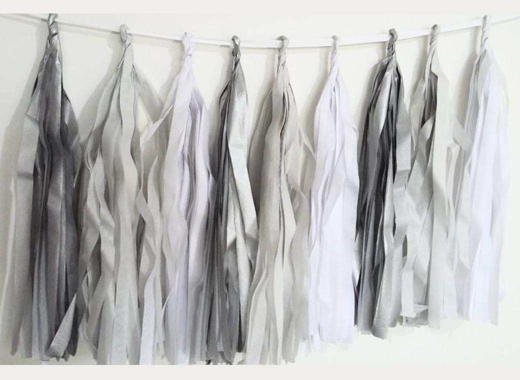 Tissue Tassel Garland - Platinum