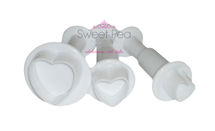 Heart Fondant Plunger Cutter - Set Of 3