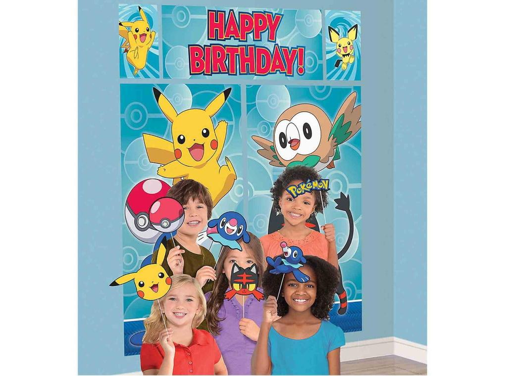 Pokemon Happy Birthday Scene Setter & Photo Props