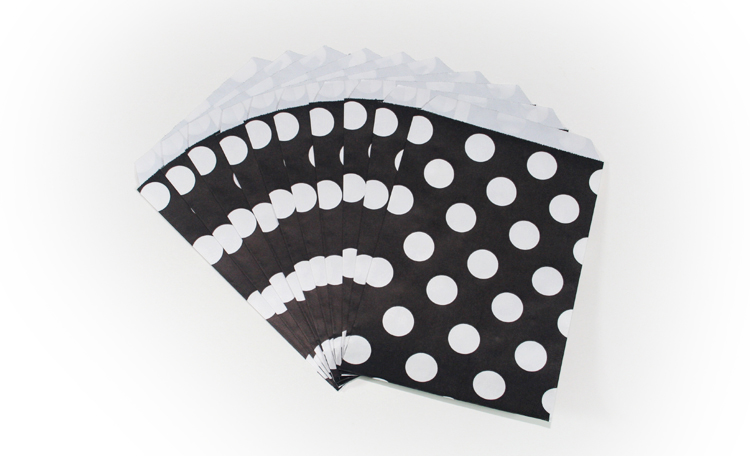 Bitty Bags Black Polka Dots - 12 Pack