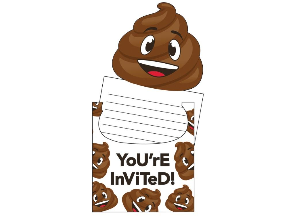 Poop Emoji Invitations 8pk