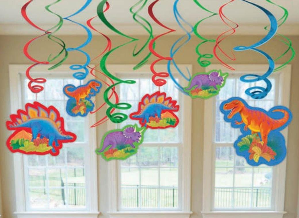 Prehistoric Dinosaurs Hanging Swirl Decorations