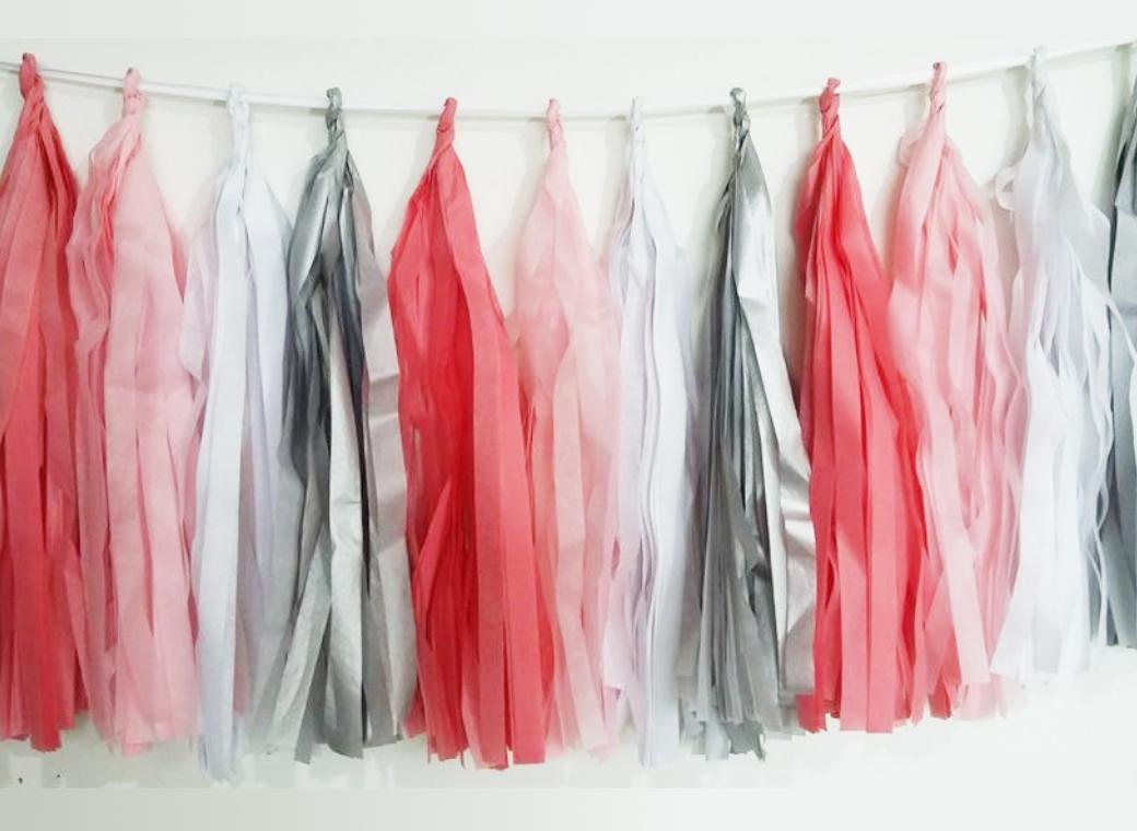 Tissue Tassel Garland - Pretty In Pink