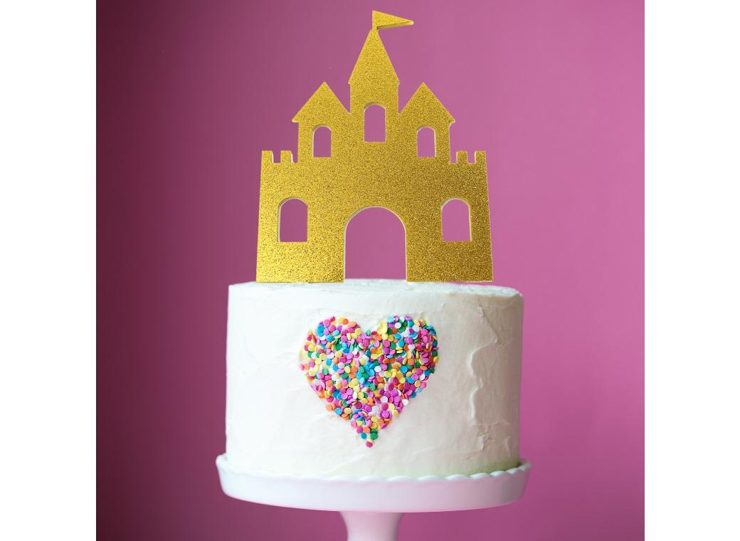 Princess Castle Cake Topper Gold