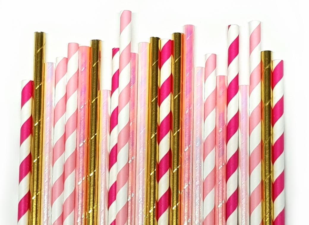 Paper Straws Mix 25pk - Princess