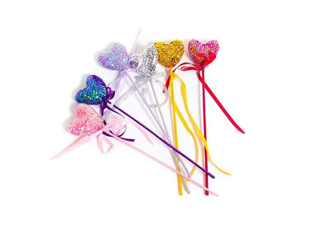 Fairy Girls Puffy Heart Wand - Light Pink