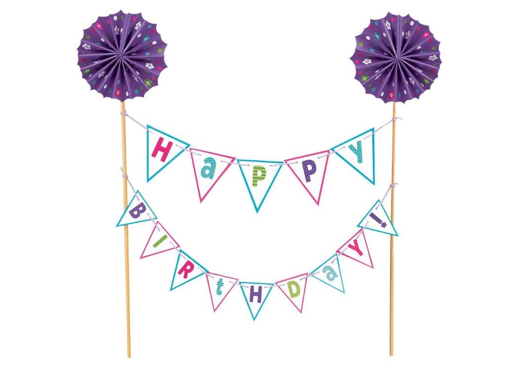 Purple Happy Birthday Bunting Cake Topper
