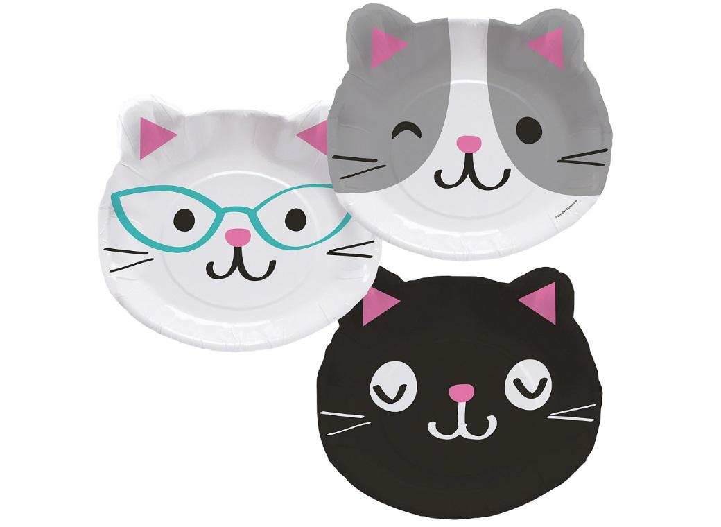 Purr-fect Party Cat Face Plates 8pk