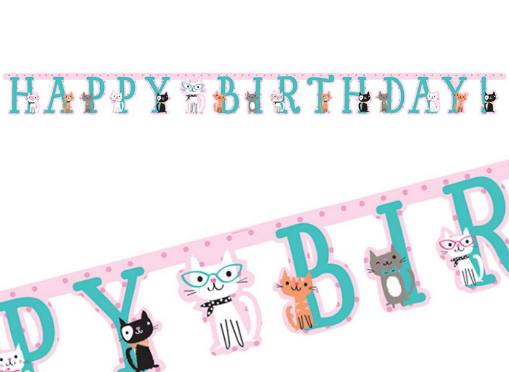 Purr-fect Party Happy Birthday Banner