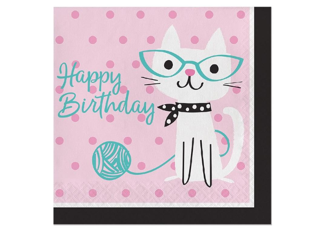 Purr-fect Party Happy Birthday Lunch Napkins 16pk