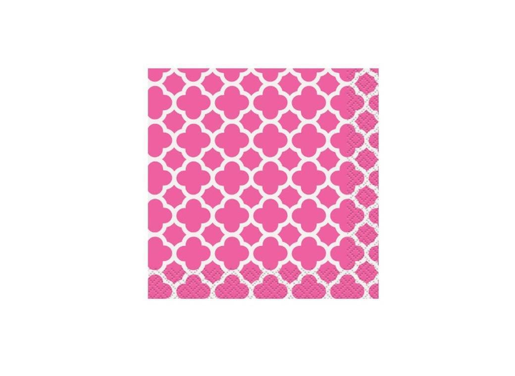 Quatrefoil Beverage Napkin - Hot Pink 16pk