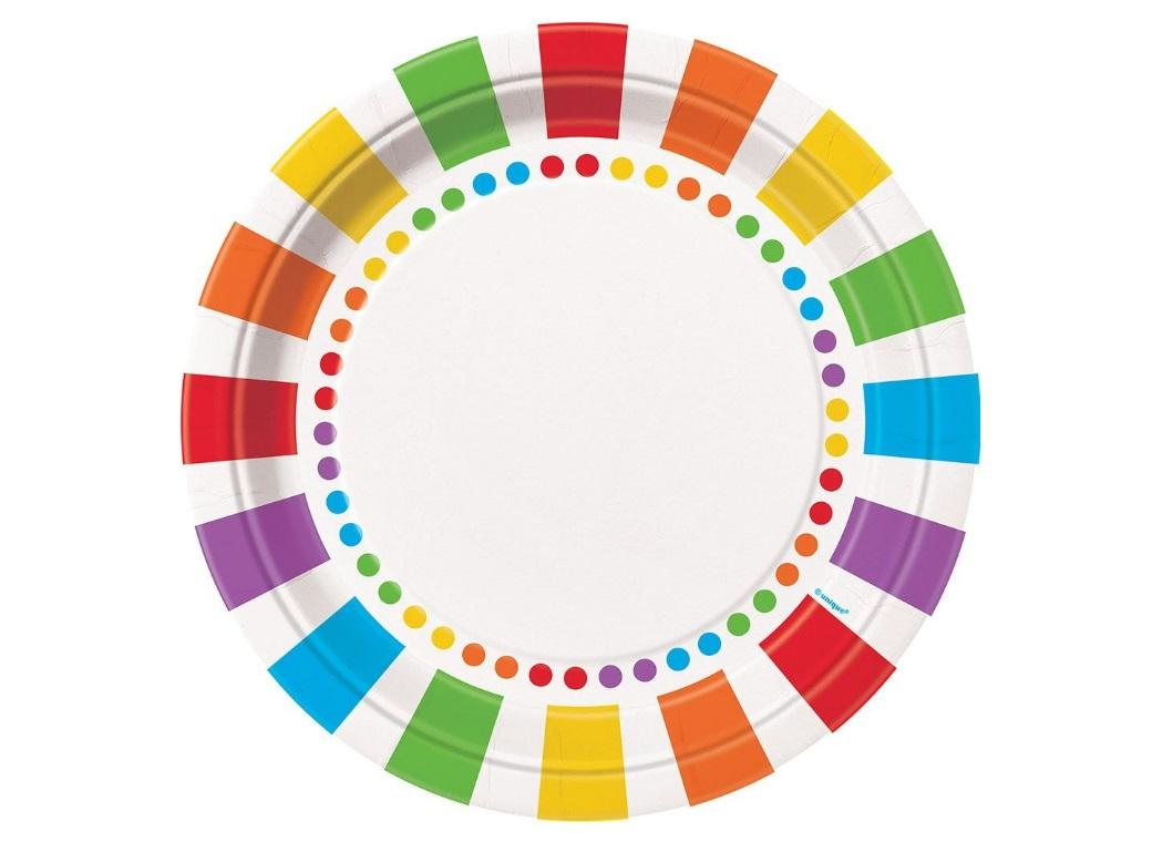 Rainbow Birthday Plates - 8pk